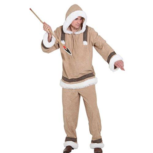 NET TOYS Adlartok Eskimo Kostüm für Herren Eskimokostüm Eskimomann Inuit Männerkostüm Plüschkostüm Felljacke Fellkleidung