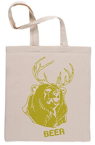 Bear Plus Deer Wiederverwendbar Einkaufstasche Reusable Beige Shopping Bag