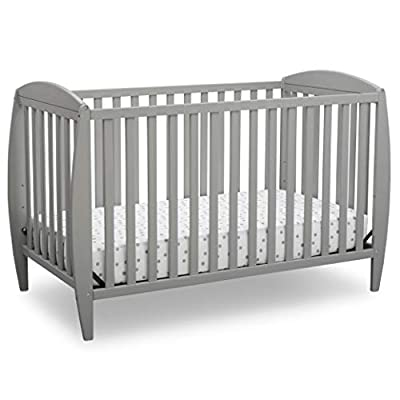 Delta Children Twinkle 4-in-1 Convertible Baby Crib, Easy to Assemble, Sustainable New Zealand Wood, Grey by Delta Enterprise Corp - PLA