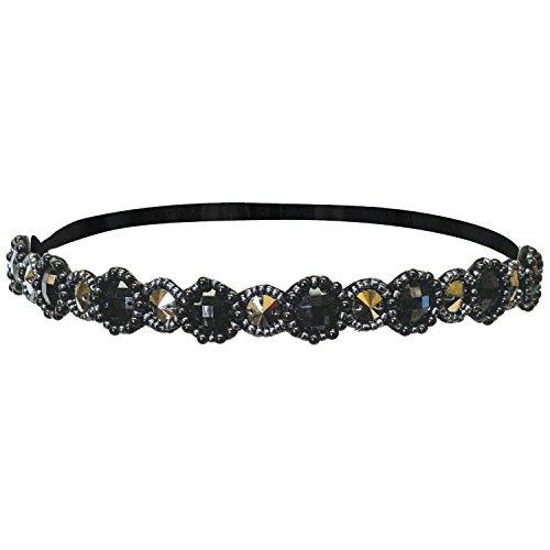Mia Fashion Headband Embellished Hair Accessory, Black + Gunmetal Round Metallic Stones + Beads, Velvet Lining, Elastic Rubber Band, for Women and Girls 1pc