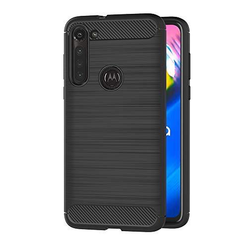 AICEK Compatible Moto G8 Power Hülle, Schwarz Silikon Handyhülle für Motorola Moto G8 Power Schutzhülle Karbon Optik Soft Hülle (6,4 Zoll)