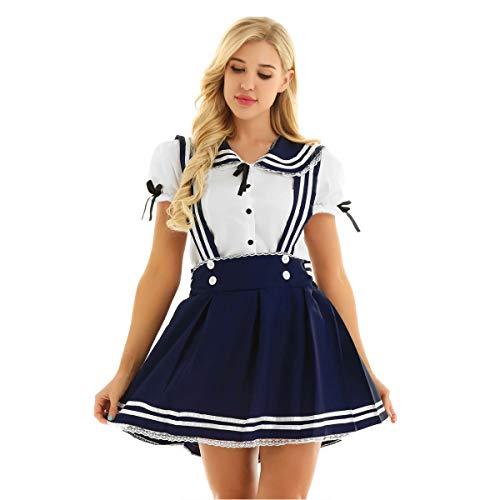 FEESHOW Mädchen Damen Schulmädchen Cosplay Kostüm Sailor Uniform Set Hemd mit Hosenträgerrock Halloween Party Outfit Navy Blau+Weiss Small