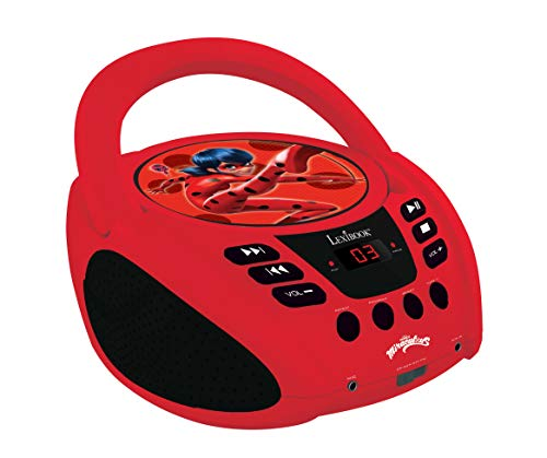 Lexibook RCD108MI Miraculous Radio CD-speler, microfoonaansluiting, line-in-ingang, batterij of netwerk, rood/zwart