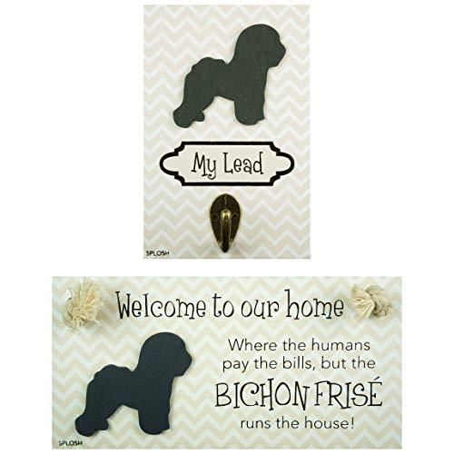 Precious-Pets Hundeschild und Hundeleine Hakenpackung, Bichon Frise, lustige Schilder, Geschenk für Mütter, Hundezubehör, Hausmaterial
