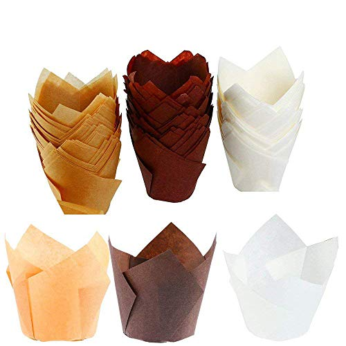 150 Pieces Tulip Baking Paper Cups, Cupcake Muffin Liners Wrappers, Baking Cups Muffin Tins Treat Cups for Weddings, Birthdays, Baby Showers,- 2.5inch (Brown, Natural and White)