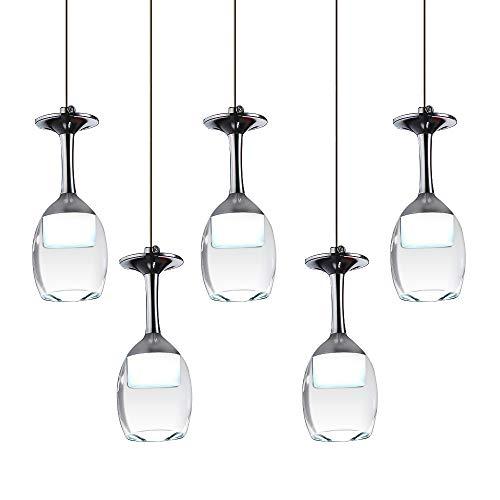 KJLARS LED Lampadario a Sospensione Moderna Lüster Pendente Regolabile Lampadario 5 bicchiere di vino Lampada (bianco freddo)