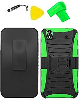 Belt Clip Holster Heavy Duty Hybrid Phone Cover Case Cell Phone Accessory + Extreme Band + Stylus Pen + Yellow Pry Tool for ZTE Quartz Z797C 797C (Belt Clip Holster Black/Green)