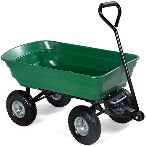 Hengda Bollerwagen Gartenwagen mit Kippfunktion Gartenkarre 300 kg Handwagen Transportwagen Luftreifen Gartentrolley