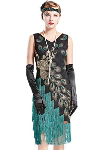 Coucoland 1920s Kleid Damen Pfau Flapper Charleston Kleid V Ausschnitt Great Gatsby Motto Party Damen Fasching Kostüm Kleid (Schwarz Grün, S)