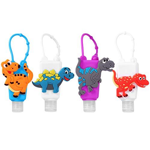 Cabilock 4 Stücke Kinder Reiseflaschen Schlüsselanhänger 30ml Silikon Flip Cap Flasche Dinosaurier Leere Seifenspender Auslaufsicher Nachfüllbare Duschgel Reisebehälter für Handgel Shampoo