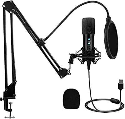 Tdbest USB Microphone Kit Condenser Computer Cardioid Mic, with Mute Key, Mic Gain/Echo Knob, Adjustable Microphone Suspension Scissor Arm, Mic for YouTube/Gaming, Podcast, Recording Music, Voice Over