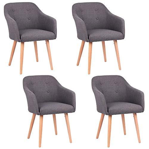 Kingpower 2/4 / 6/8 Set Stühle Esszimmerstühle Stuhl Sessel Armlehne versch. Farben, Auswahl:4 Sessel - dunkelgrau