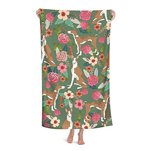DLJIYZX Toalla de baño Sabueso ibicenco Floral Perro de Raza Pura Verde Toalla de baño Suave...