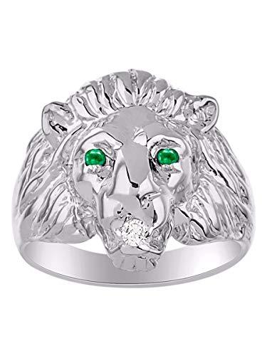 Cabeza de León juego de anillos con diamante genuino en boca y esmeraldas naturales en los ojos chapado en oro blanco de plata de ley 925