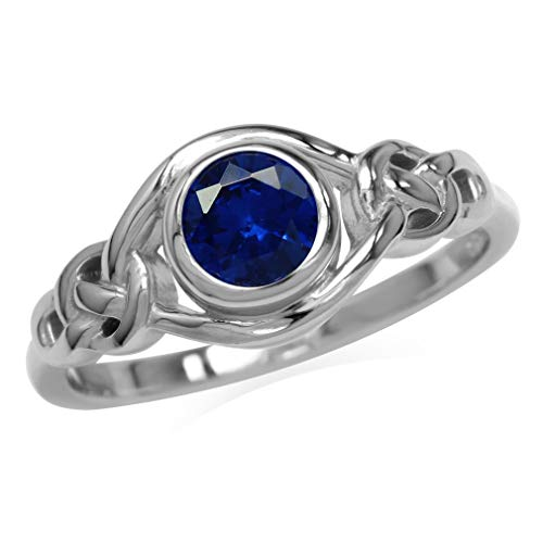 Silvershake Created Blue Sapphire White Gold Plated 925 Sterling Silver Celtic Knot Ring Size 10.5