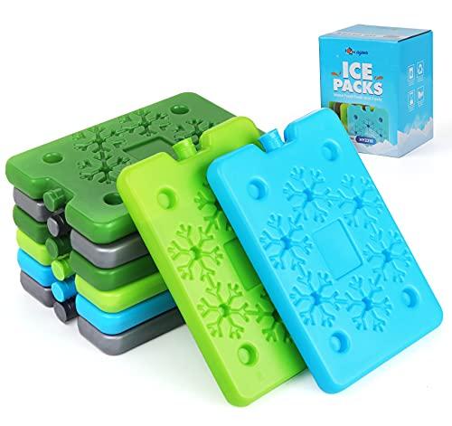Agoer 8 Stück flaches Kühlakku - 4 Farben Schneeflocke Kühlpack Kühlelemente für Kühltasche und Kühlbox, Platzsparend und ideal mittel Kühlelement, 200ml