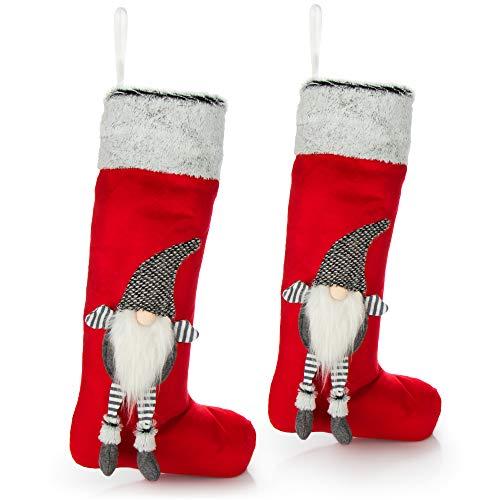 com-four 2X Premium Christmas Stocking XXL - Stivale di Babbo Natale Rosso da riempire - Calzino di Natale Come Decorazione da Appendere - Calzino di Babbo Natale 60 x 30 cm