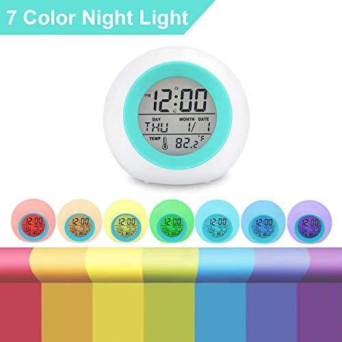 Kids Digital Alarm Clock, 7 Color Night Light, Snooze, Temperature Detect for Toddler, Children Boys and Girls, Students to Wake up at Bedroom, Bedside, Batteries Operated (Blue)