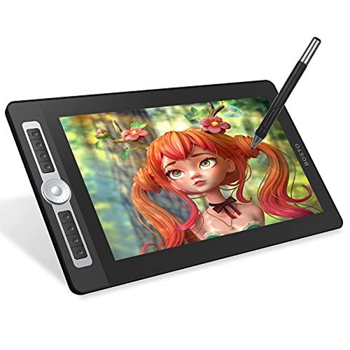 Funien Gráfico de Arte Digital, 16HD Pro Portátil de 15,6 Pulgadas H-IPS LCD Tableta de Dibujo de gráficos Pantalla Tablero de Dibujo de Arte Digital 8192 Nivel de presión Tecnología pasiva Lápiz sin