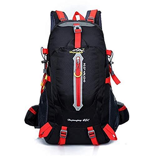 WENZHEN Sac à Dos The North Face,40L Outdoor Randonnée Sac À Dos Trekking Sac À Dos Voyage Daypack Sac À Dos Sport Étanche @ Noir Red_52 * 30 * 20cm