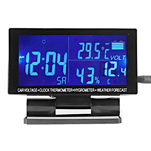 banapo Reloj para Coche, Alarma De Voltaje, Termómetro para Coche, Higrómetro, Función De Pronóstico del Tiempo para Decoración Fresca del Coche
