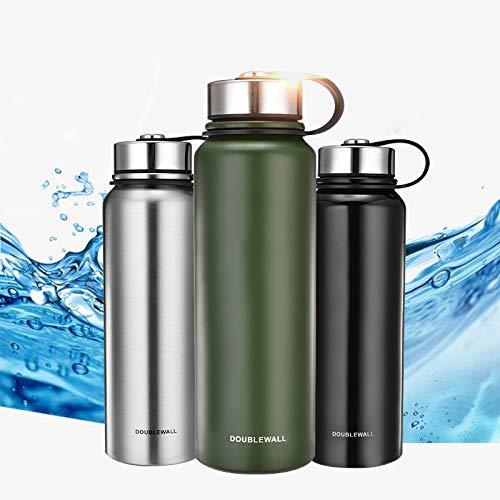 MIGHTYDUTY 610/800/1100/1500ML Thermosflasche, vakuumisolierte Wasserflasche Edelstahlflasche, tragbar, 6-24 Stunden, warm und kühlend, Sport-Wasserbecher für Laufen, Yoga, Fitness (Grün 1500ML)