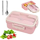 Sunshine smile Caja de Bento con 3 Compartimentos,microondas y lavavajillas Lunch Box,Bento Box para Niños,Fambrera Infantil,Caja de Almuerzo de Plástico,Fiambreras Bento(Rosa 2)