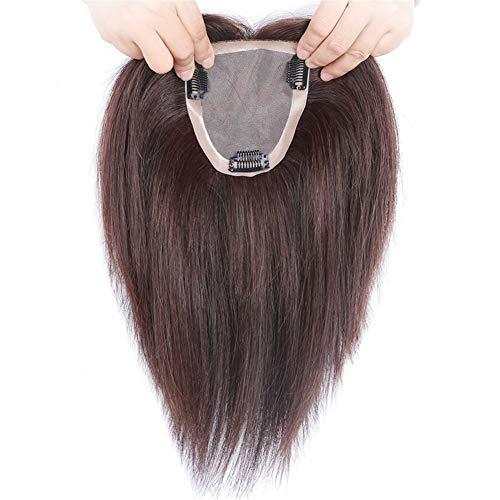 Mono Echthaar-Teil für Frauen mit dünner werdendem Haar, 10 x 12 cm, handgefertigt, zum Anklipsen