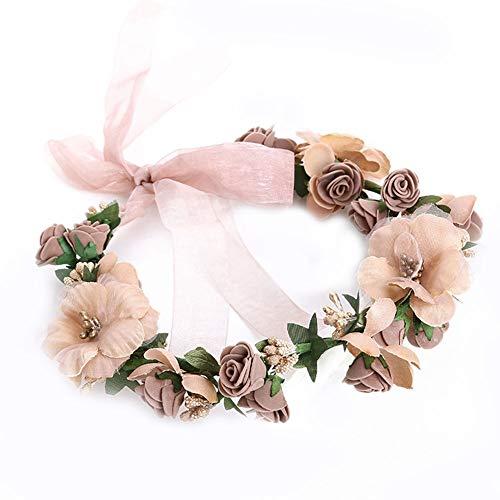 Sasecht Handgemachte Girlande Brauthaar-Band Kopfbedeckung Einfache Art Und Weise Hauptblumen-Zubehör (Color : Brown)