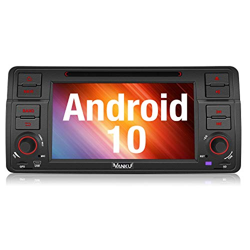 Vanku Android 10 Autoradio für BMW 3er E46 Radio mit Navi Unterstützt Qualcomm Bluetooth 5.0 DAB + CD DVD Android Auto WiFi 4G 7 Zoll Bildschirm