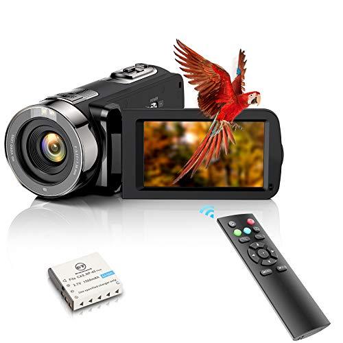 Videocamera Videocamera FHD 1080P 24MP YouTube Vlogging Camera Recorder 3.0'' Rotazione di 270 gradi TFT LCD Screen 16X Zoom Digitale Videocamera con Telecomando e 1 Batteria