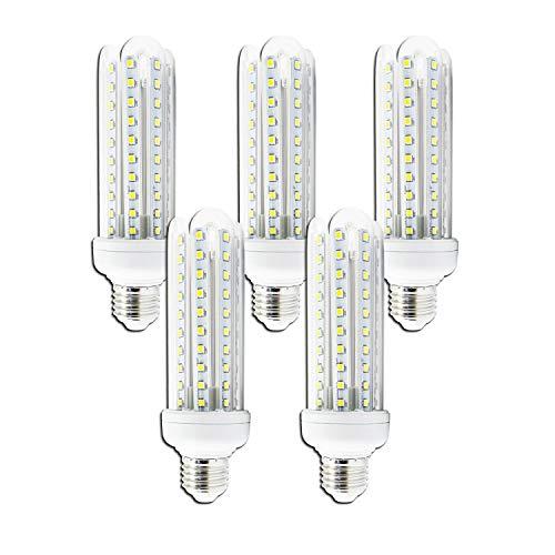 Aigostar 176136 - Lot de 5 ampoules LED T3 4U de 15 W, culot E27, 1200 lumens et lumière chaude (3000K)