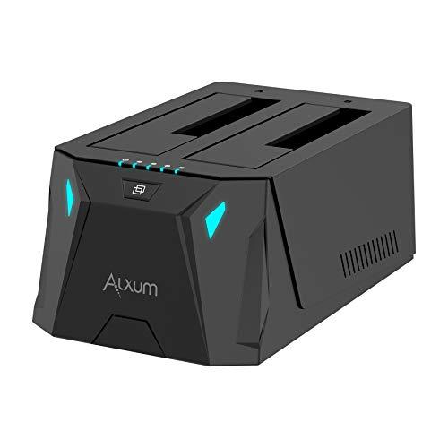 """Alxum USB C à SATA Station d'accueil pour Disque Dur with Double Baies Clone, USB 3.0 Fonction Clonage Dock Disques durs pour SATA de 2,5/3,5"""" SSD, HDD (USB-C+A, Noir)"""