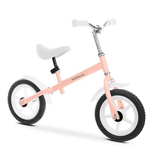 Lalaloom BERRY BIKE - Bicicleta sin pedales de aluminio para niños de 2 años (andador para bebe, correpasillos para equilibrio, manillar y sillín regulables con ruedas de goma EVA), color Rosa