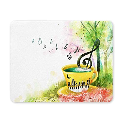 Gaming Mouse pad,Mouse pad Musical Notes and a Coffee Cup Personality Mouse Pads with Design - Non Slip Rubber Mouse Mat