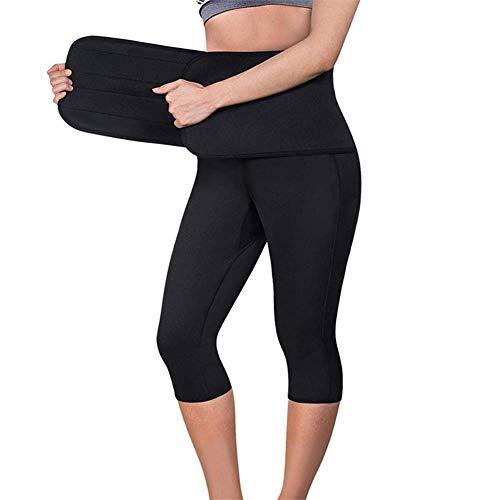 iSunday dames fitness yoga ingekort broek persen taille hot neopreen slim riem verbreding riem geschikt voor vetcontrole joggingbroek zwart