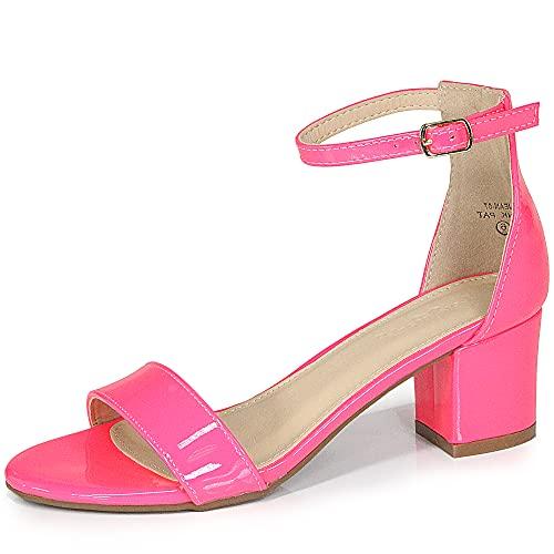 Bella Marie Jean Women's Strappy Open Toe Block Heel Sandals Neon Pink Patent 6