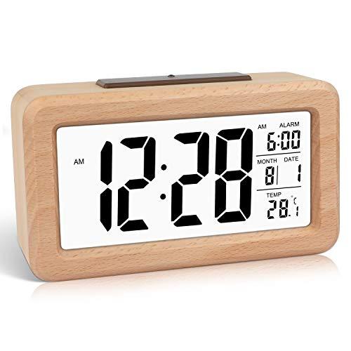 DTKID Sveglia Digitale in Legno Facile da Impostare con Temperatura, Data, retroilluminazione, Snooze, per Camera da Letto, Comodino, casa, Ufficio, Senza Tick (Marrone Chiaro)