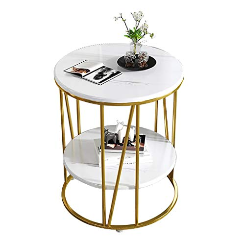 ZWJLIZI Coffee table, sofa side table, light living room marble double-layer small round table, small apartment bedside table (Color : B)
