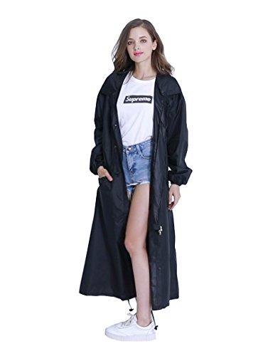 Women's Stylish Long Rain Poncho Waterproof Rain Coat with Hood and Multi Color Pattern (Black, XXL)