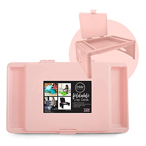 Foldable Lap Desk with Storage Pocket   Blush Color. Perfect use for Laptops, Travel, Breakfast in Bed, Gaming and Much More! Great for Kids and Teens!