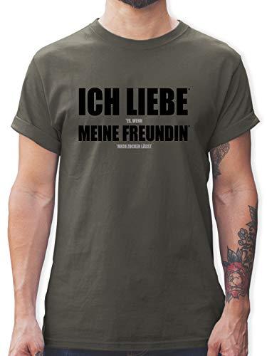 Nerds & Geeks - Ich Liebe Meine Freundin - 3XL - Dunkelgrau - zocker Tshirt - L190 - Tshirt Herren und Männer T-Shirts