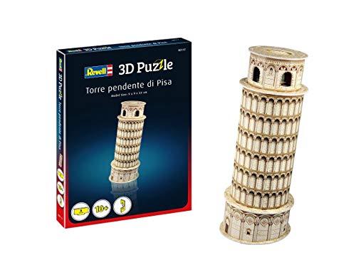Revell 3D Puzzle 00117 Schiefer Turm von Pisa, eines des Wahrzeichens Italiens, Höhe 23 cm Die Welt in 3D entdecken, Bastelspass für Jung und Alt, farbig