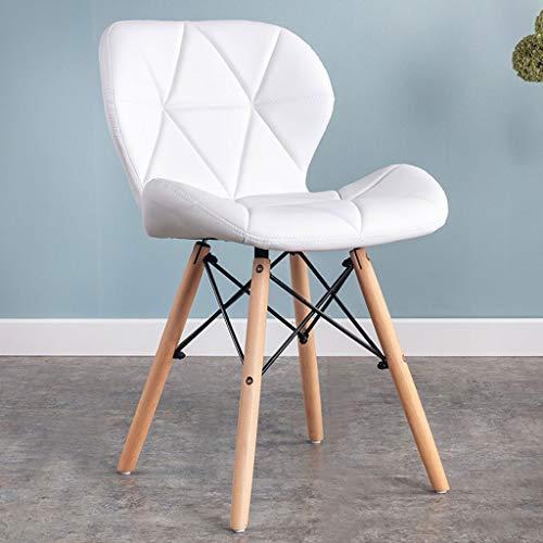 QZYQ Silla Comedor Nordic Dining Chair Silla de Dormitorio Upholstered Dining Chair, upholstered Seat, Ergonomic backrest Solid Beech Wood Legs butacas sillas Salon (Color : White, Size : Leather)