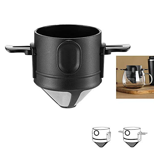 Filtro de café reutilizable, cono de goteo portátil de acero inoxidable de una sola porción de 1 a 2 tazas, mini cafetera sin papel...