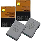 2-Pack Nikon EN-EL14A Rechargeable Li-Ion Battery for Nikon D3100, D3200, D3300, D3400,D3500,D5200, D5300, D5500, D5600