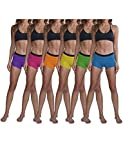Sexy Basics Women's 6 Pack Modern Active Buttery Soft Boy Short Boxer Brief Panties (6 Pack- NEONS, X-Large)