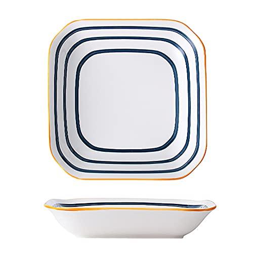 WLGQ Piatto da Dessert/Piatto da Insalata Piatto in Ceramica per Colazione tè pomeridiano - Motivo a Farfalla (Piatto da Insalata da 8 Pollici)