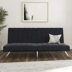 Modern look and design with chrome metal legs.Split back to suit your needs The frame is attached to the futon cushions. Sofa sleeper weight limit: 600 pounds Easily converts from sitting to lounging and sleeping Black and vanilla available in faux l...