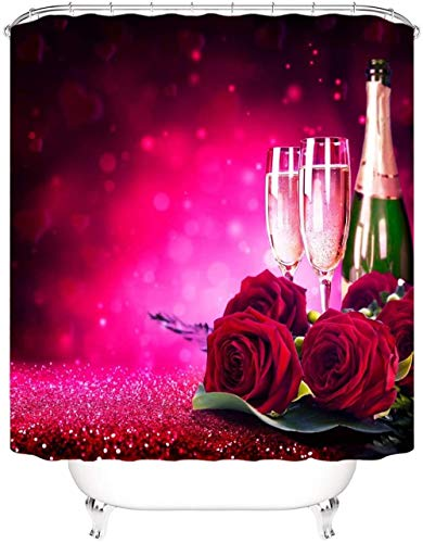 HNMFT Badewanne Curtain Badezimmer wasserdichter Duschvorhang Champagner & roter Rosenmuster Polyester Duschvorhang